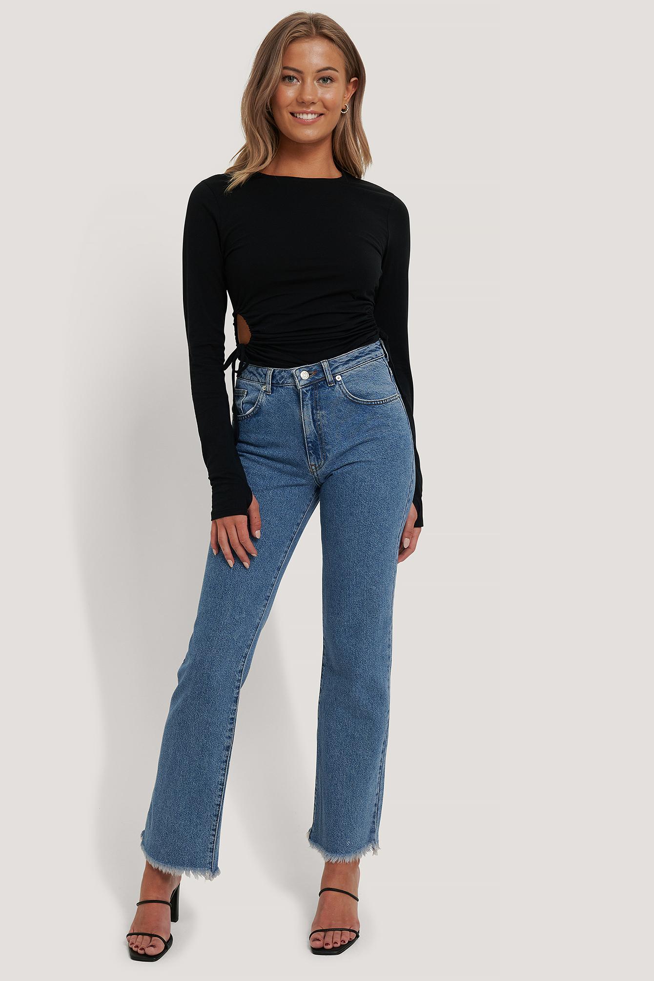 NA-KD Ankellange jeans