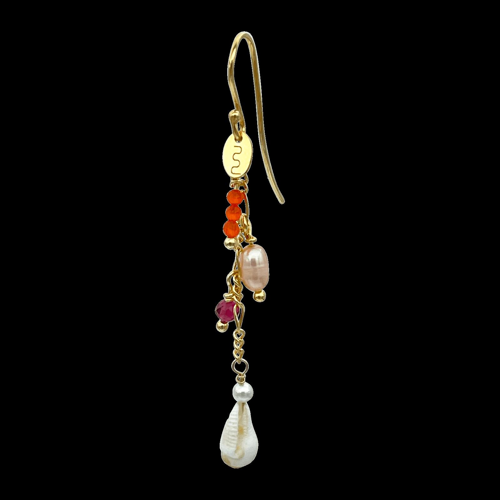 Nuni Copenhagen Annika ørering, floral/guld, 5,5 cm