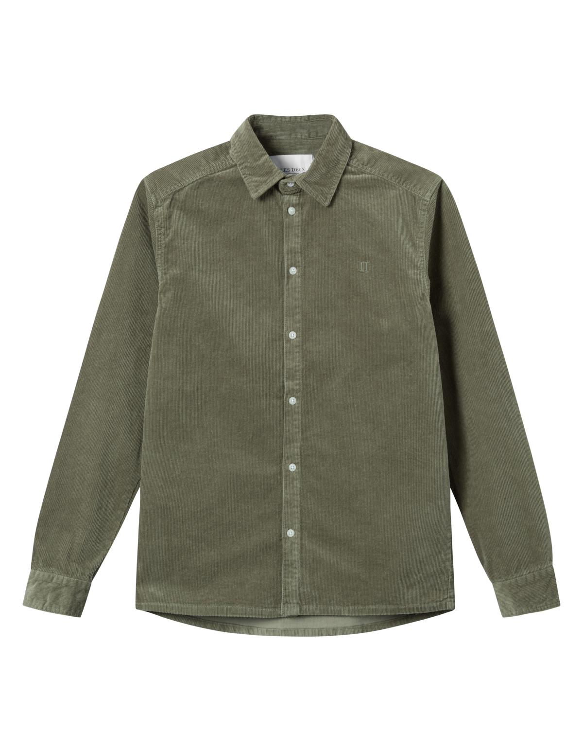 Les Deux Felix HW Corduroy skjorte, lichen green, large