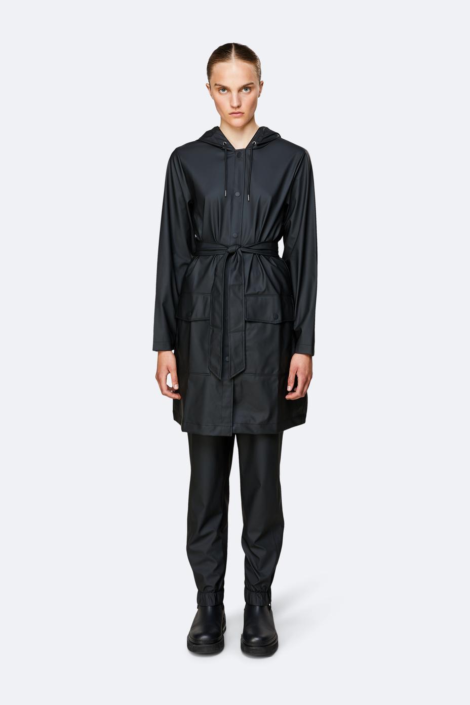Rains Belt Jacket regnjakke, sort, large/x-large
