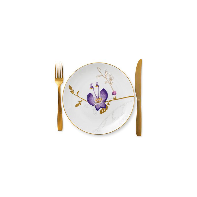 Royal Copenhagen Flora desserttallerken, Ø22 cm, stedmoderblomst