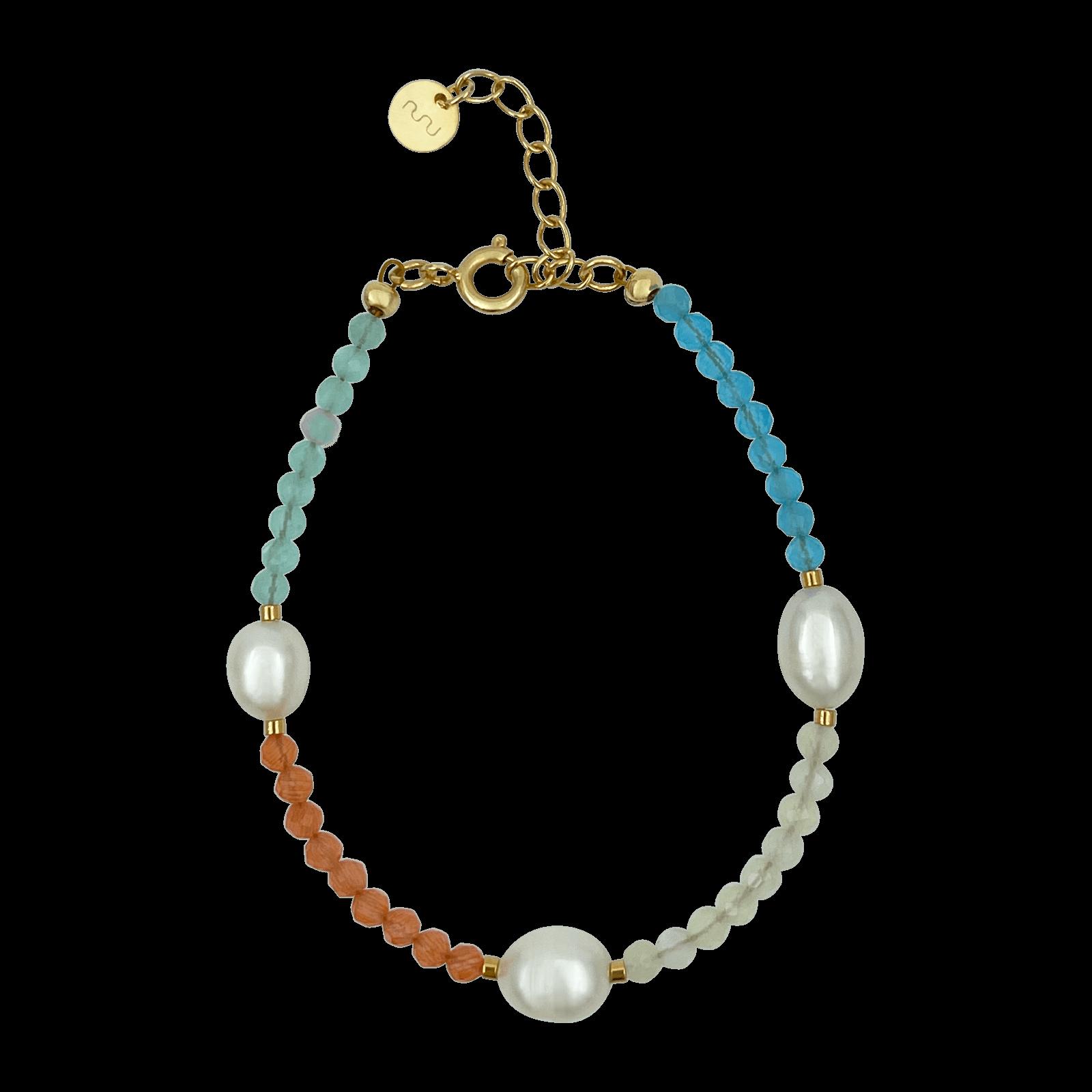 Nuni Copenhagen Else armbånd, pastel2/guld, 15,5 cm
