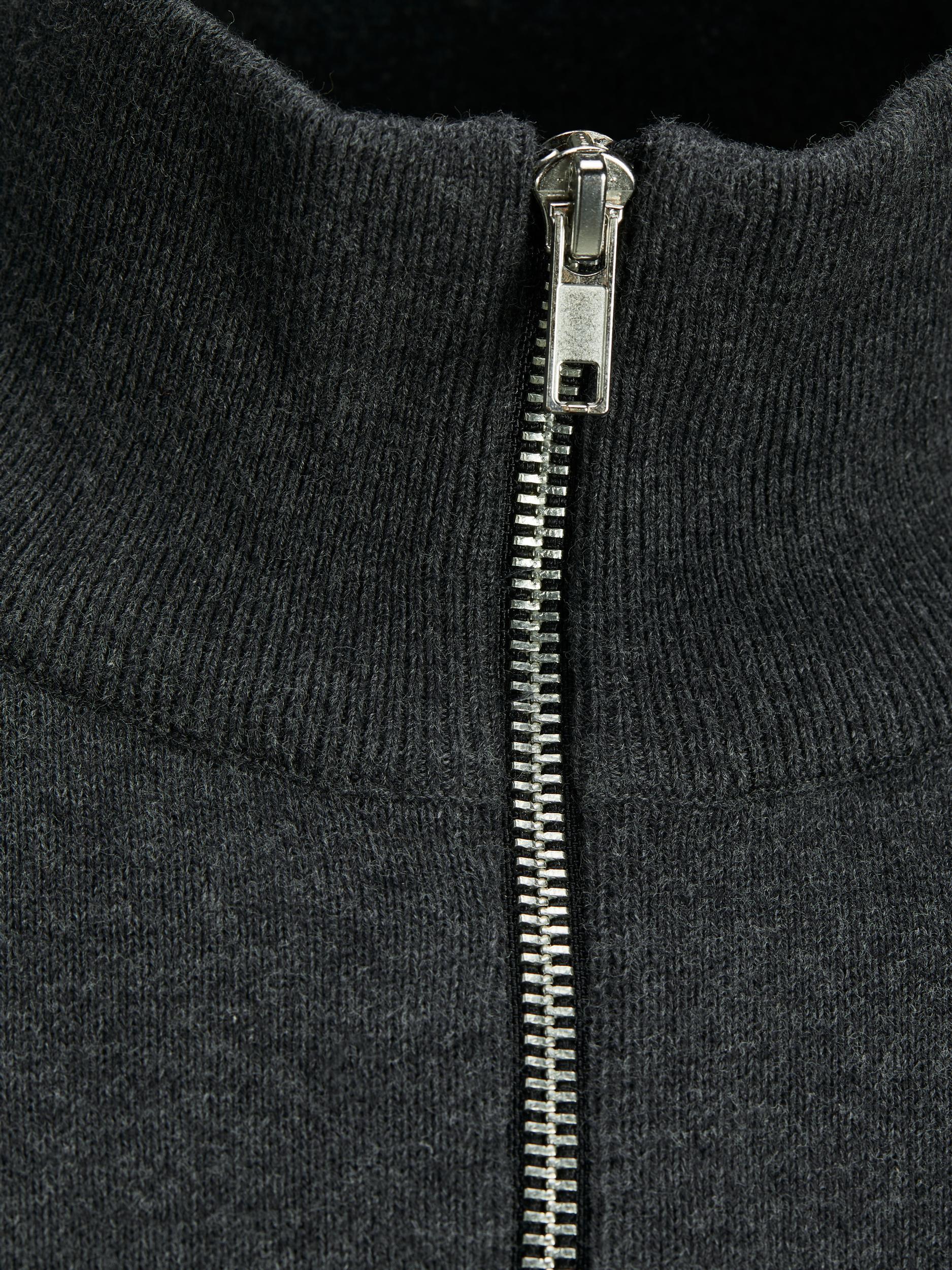 Jack & Jones Basic Half-zip strik, dark grey melange, medium