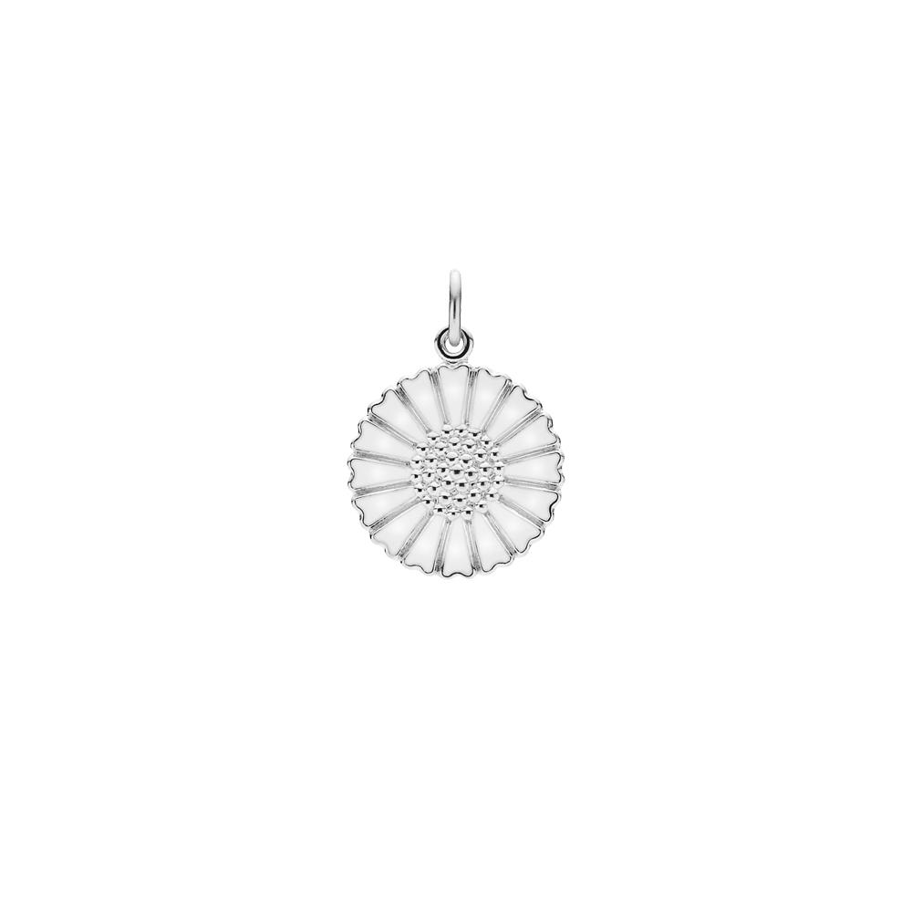 Marguerit vedhæng 18 mm, hvid emalje, sølv