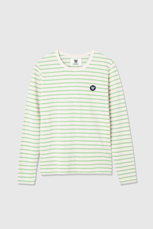 Wood Wood Moa L/S t-shirt, off-white/green stripes, x-small