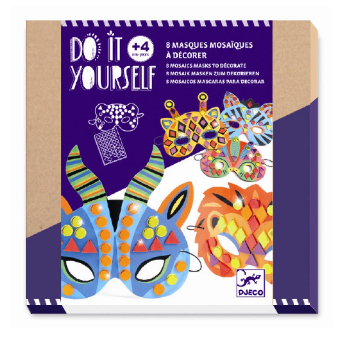Djeco DIY jungledyr masker, mosaik