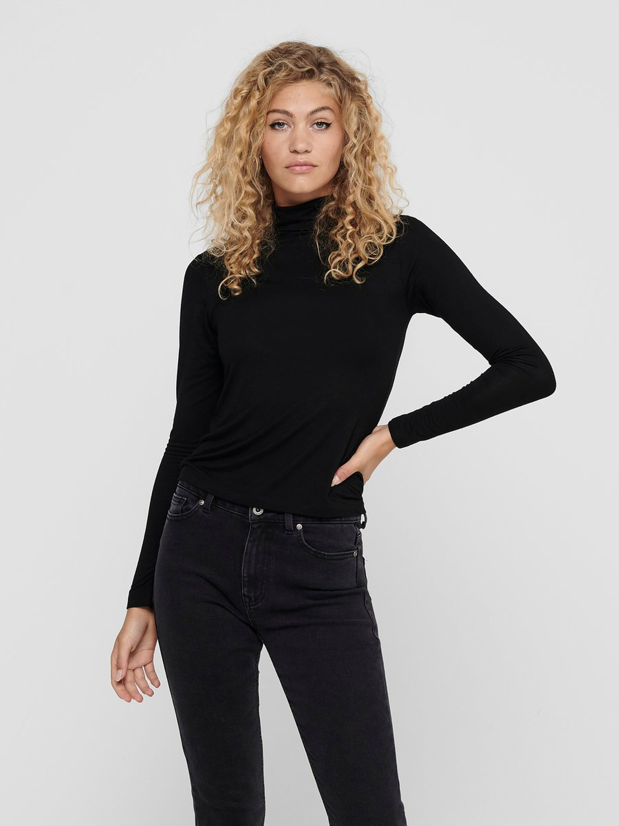 Only Lela High Neck top, black, medium