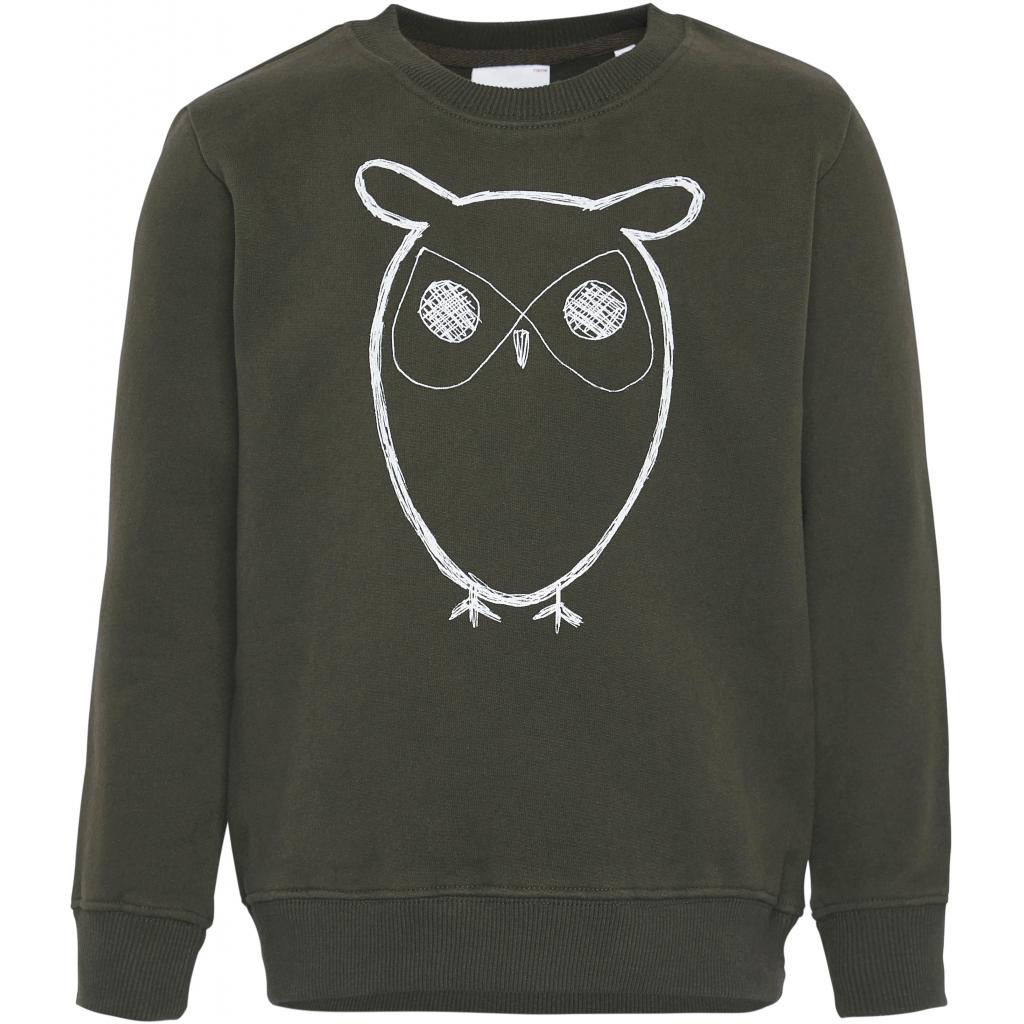 Knowledge Cotton Apparel Lotus Owl Sweatshirt, forrest night, 110-116
