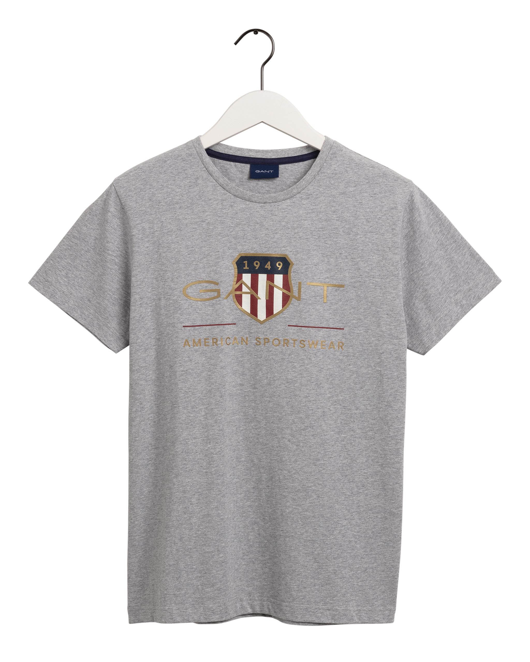 Gant Archive Shield t-shirt, grey melange, large