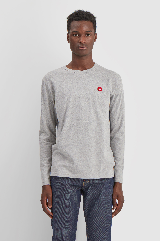 Wood Wood Double A Mel L/S t-shirt, grey melange, large