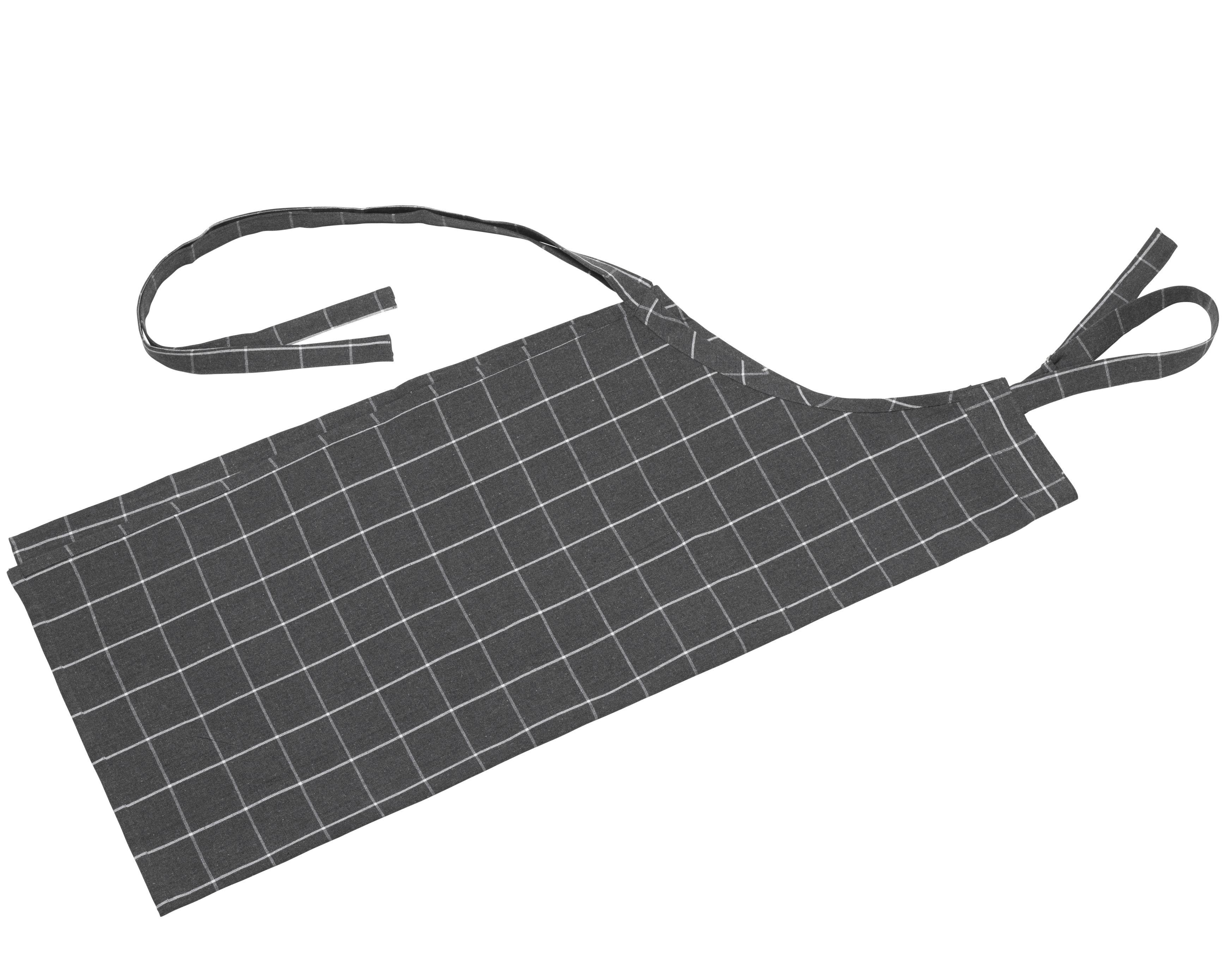 Bastian Recycle forklæde, 95x80 cm, ternet mørkegrå