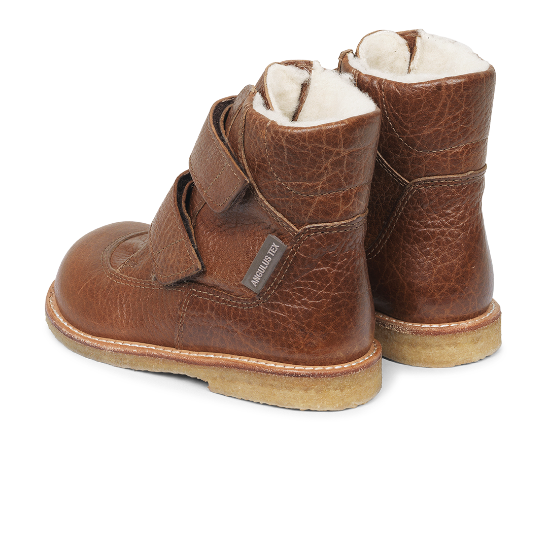 Angulus TEX støvle med velcrolukning, cognac, 30
