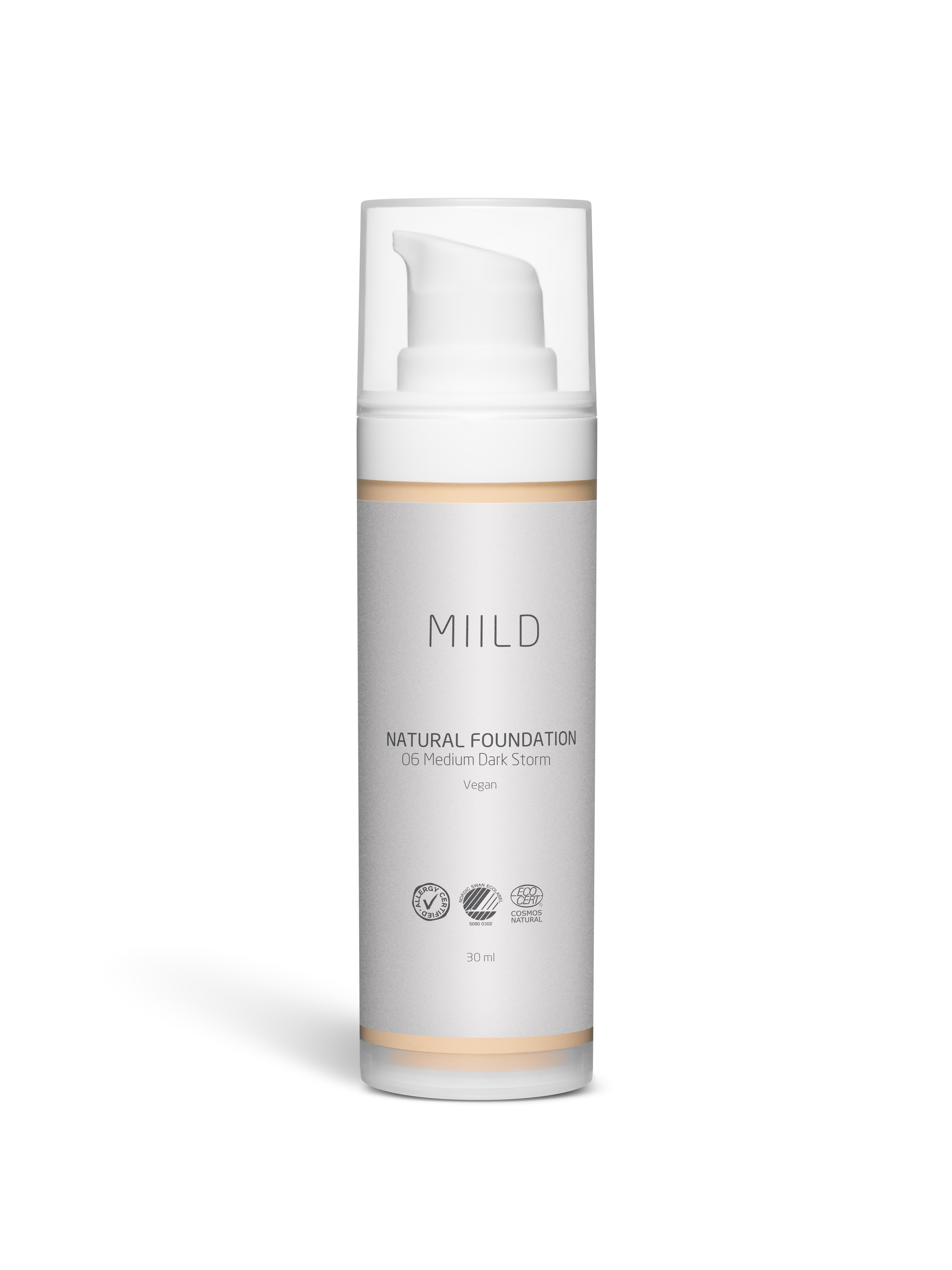 Miild Natural Foundation, 06 medium dark storm