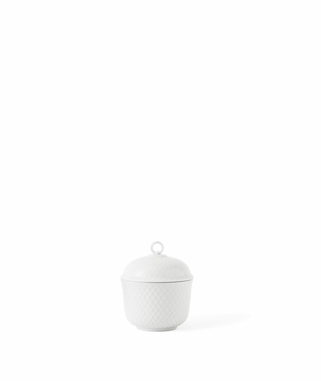 Lyngby Porcelæn Rhombe sukkerskål, Ø8 cm, hvid