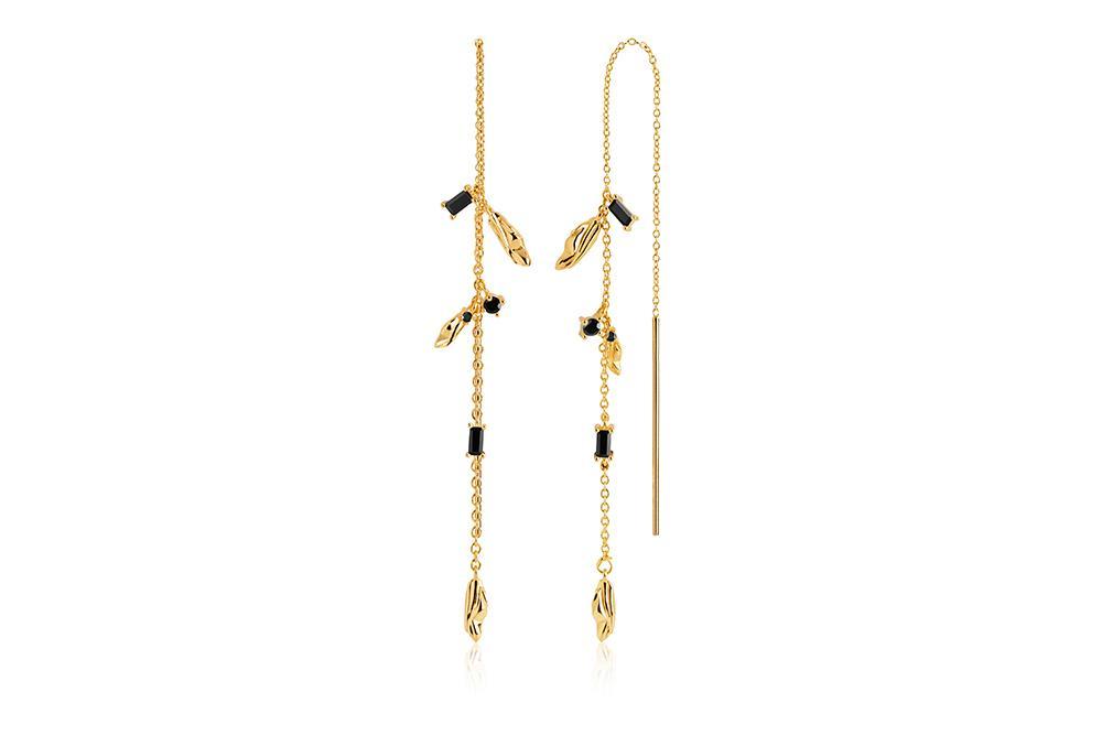 Sif Jakobs Jewellery Vulcanello Double Chain L øreringe, guld/sort