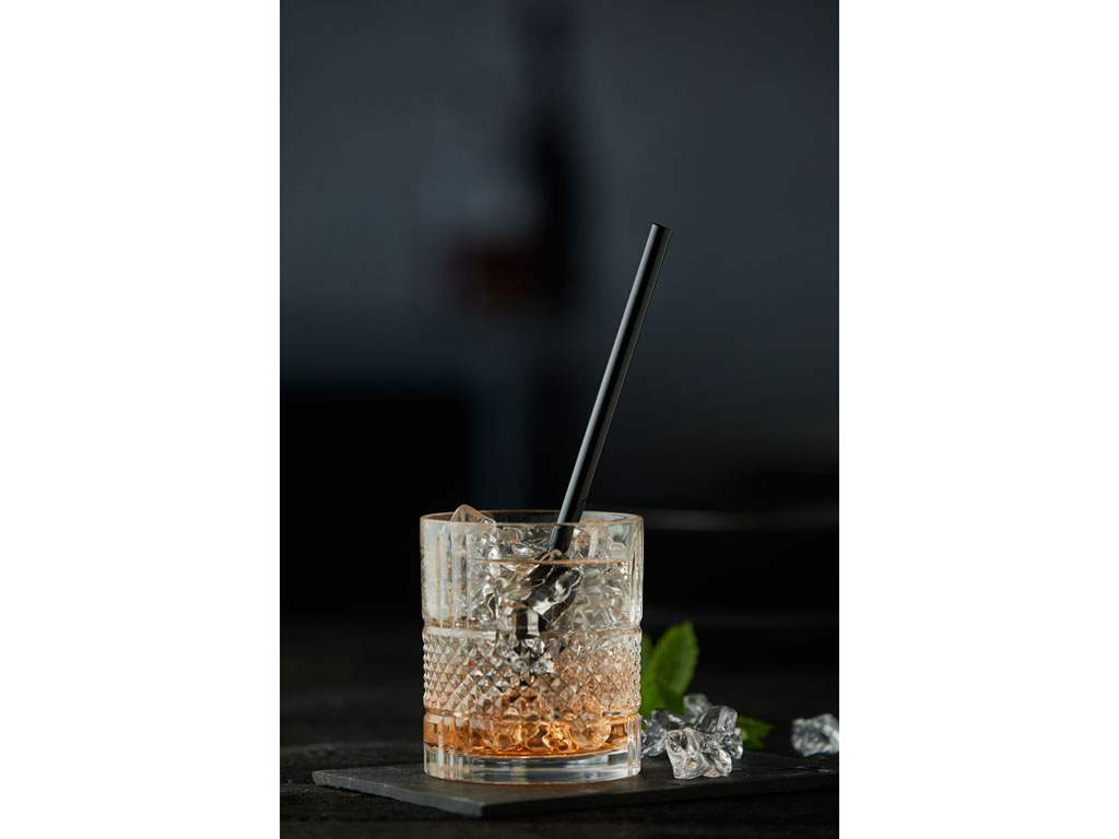 Lyngby-Glas sugerør, sort glas, 6 stk