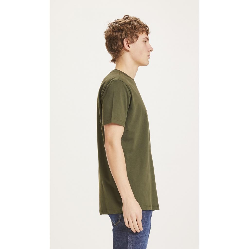 Knowledge Cotton Apparel Alder badge t-shirt, dark denim, large