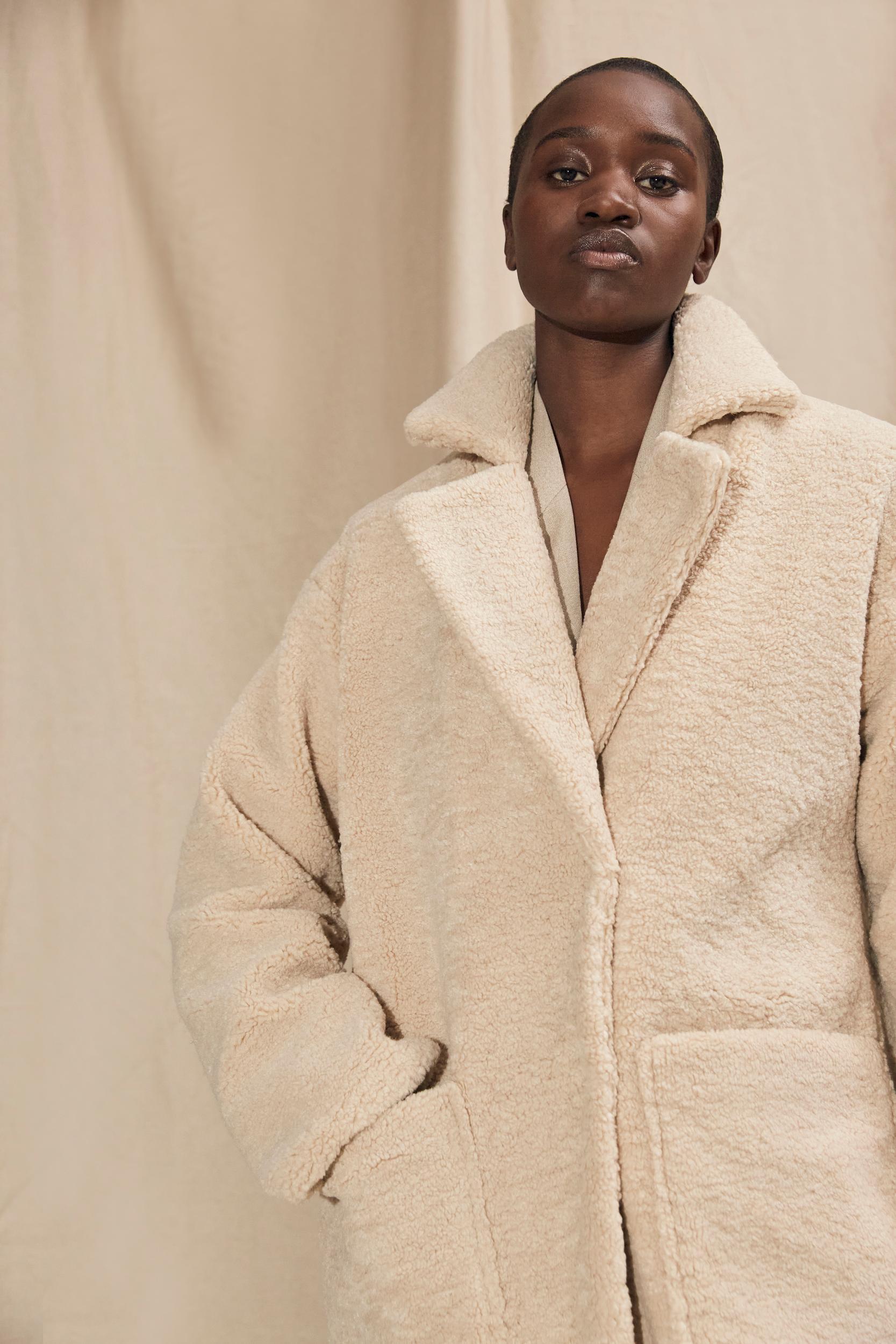 Selected Femme New Nanna Teddy frakke, sandshell, 38
