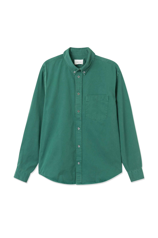 Wood Wood Andrew Classic Denim skjorte, emerald green, small