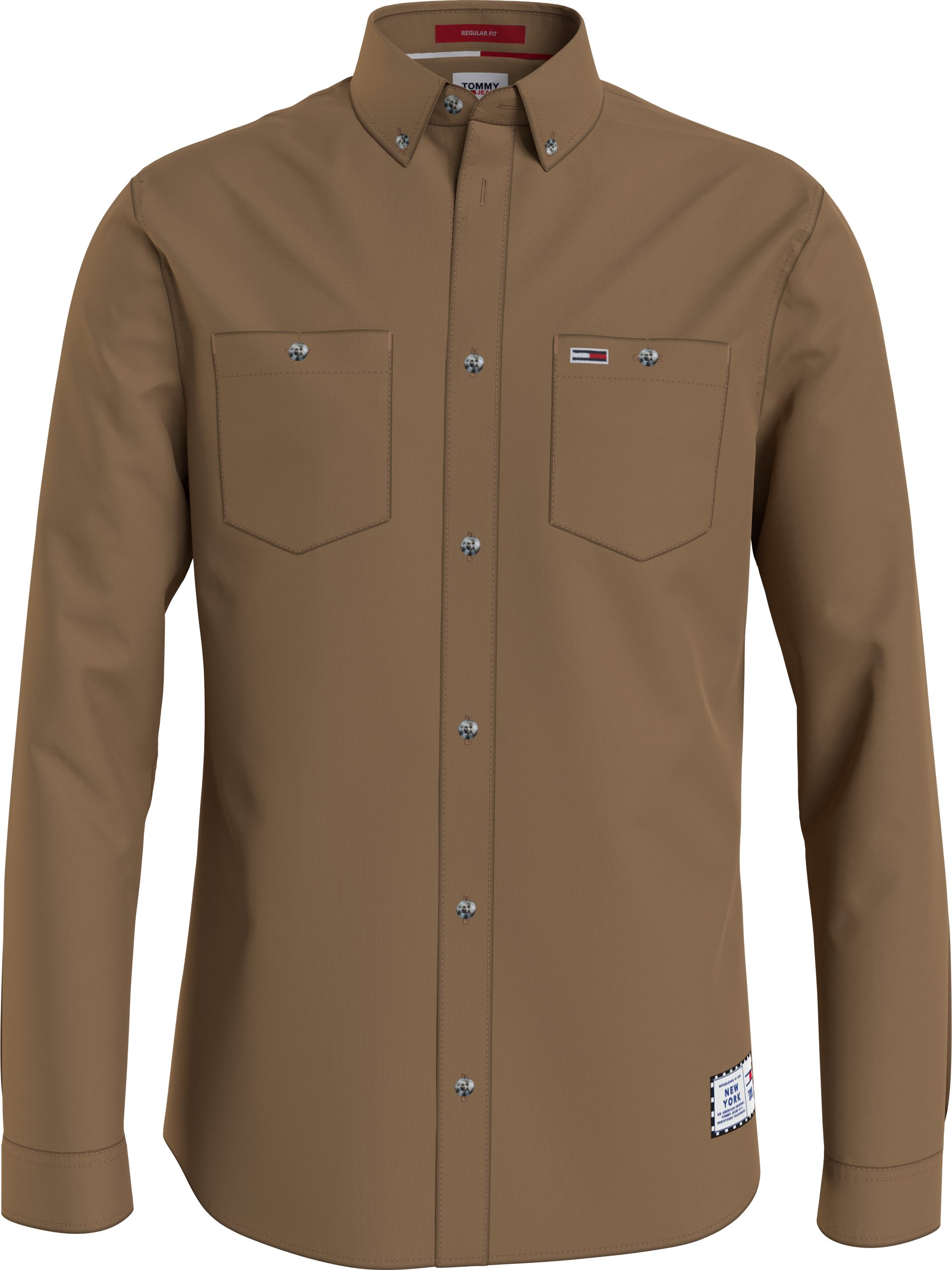 Hilfiger Denim Two-Tone Oxford Skjorte, Brun, S
