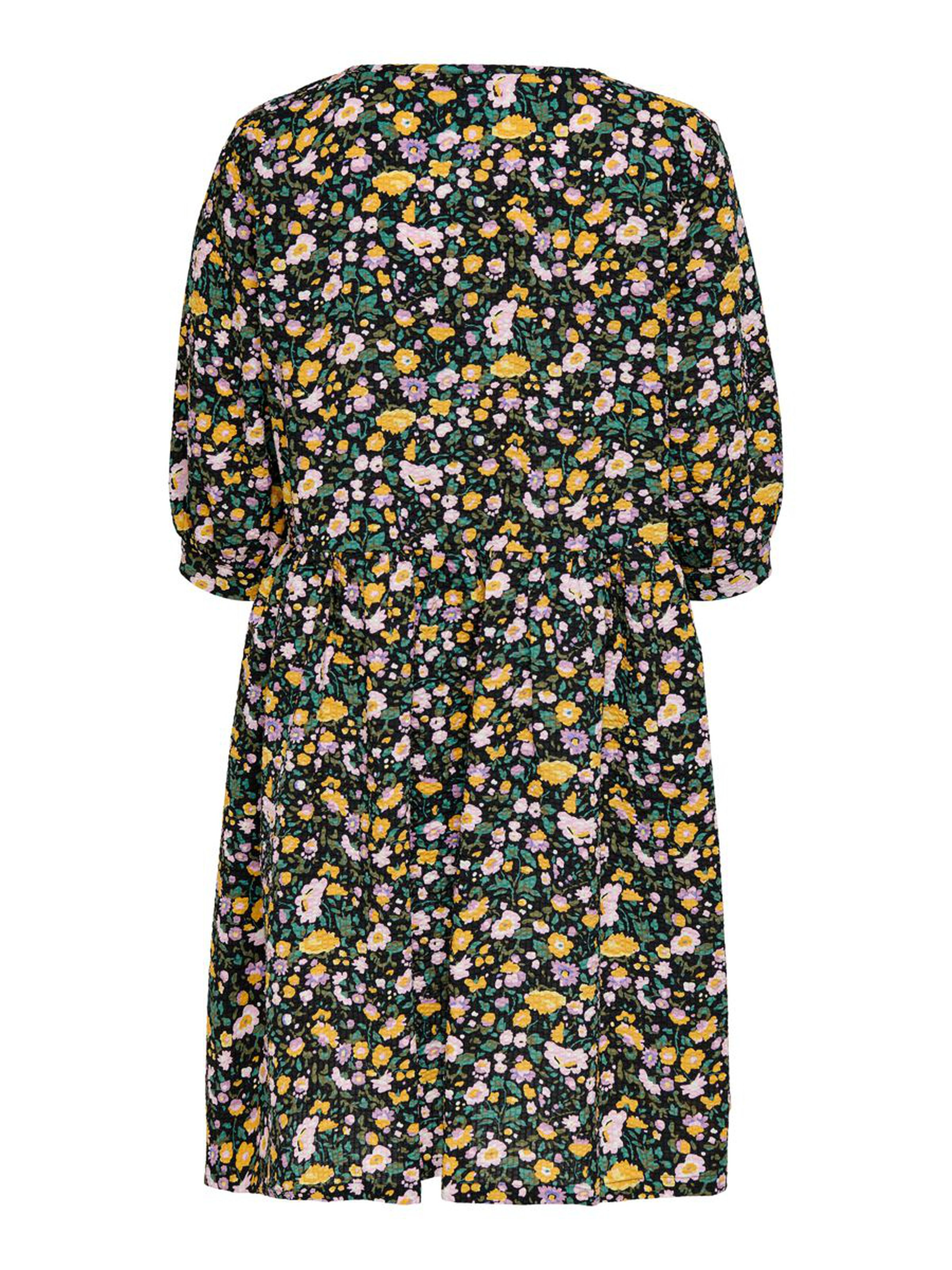 Only Lua 2/4 printet kjole, black/purple, large