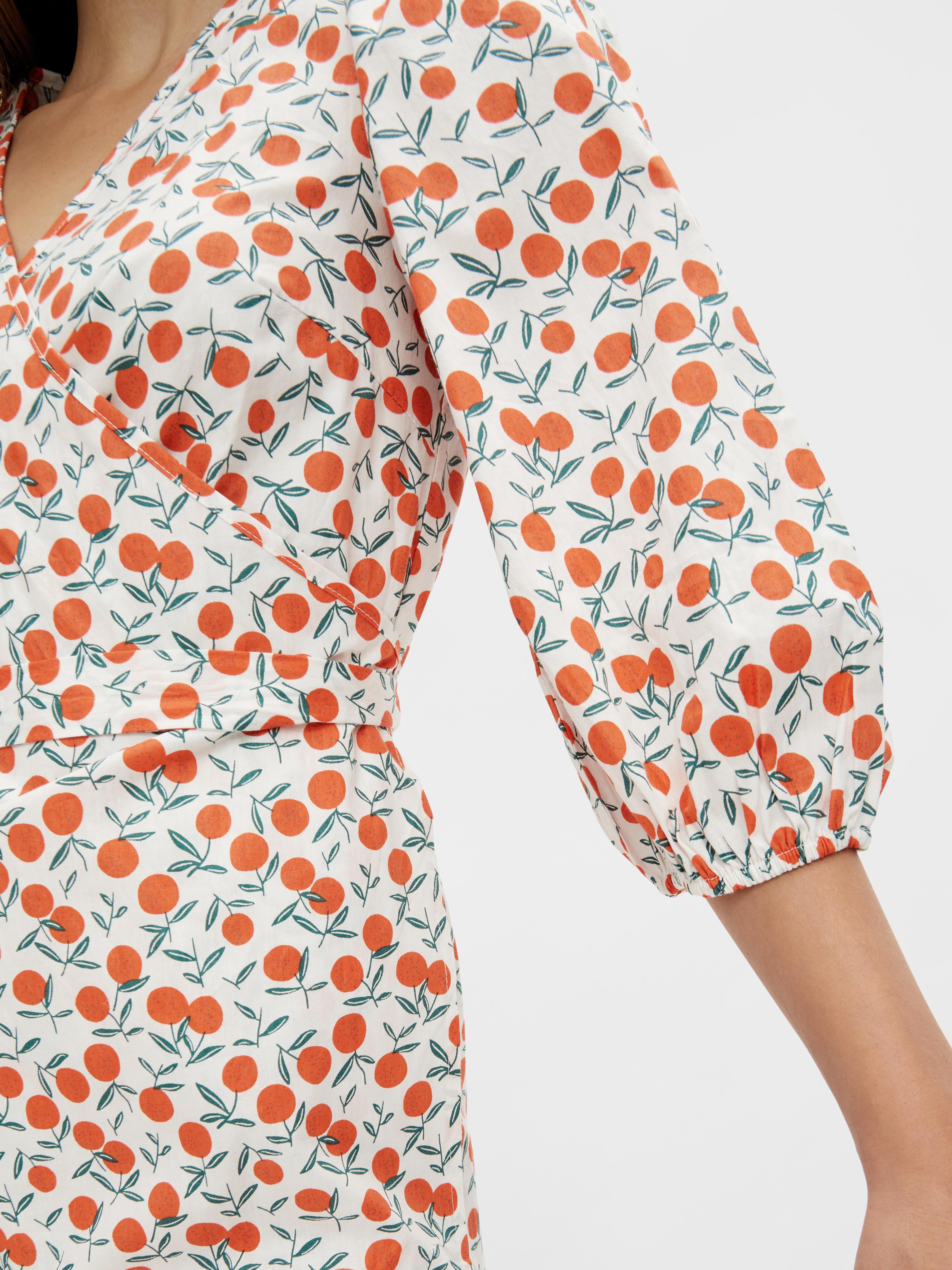 Pieces Fruit wrap kjole, bright white, medium