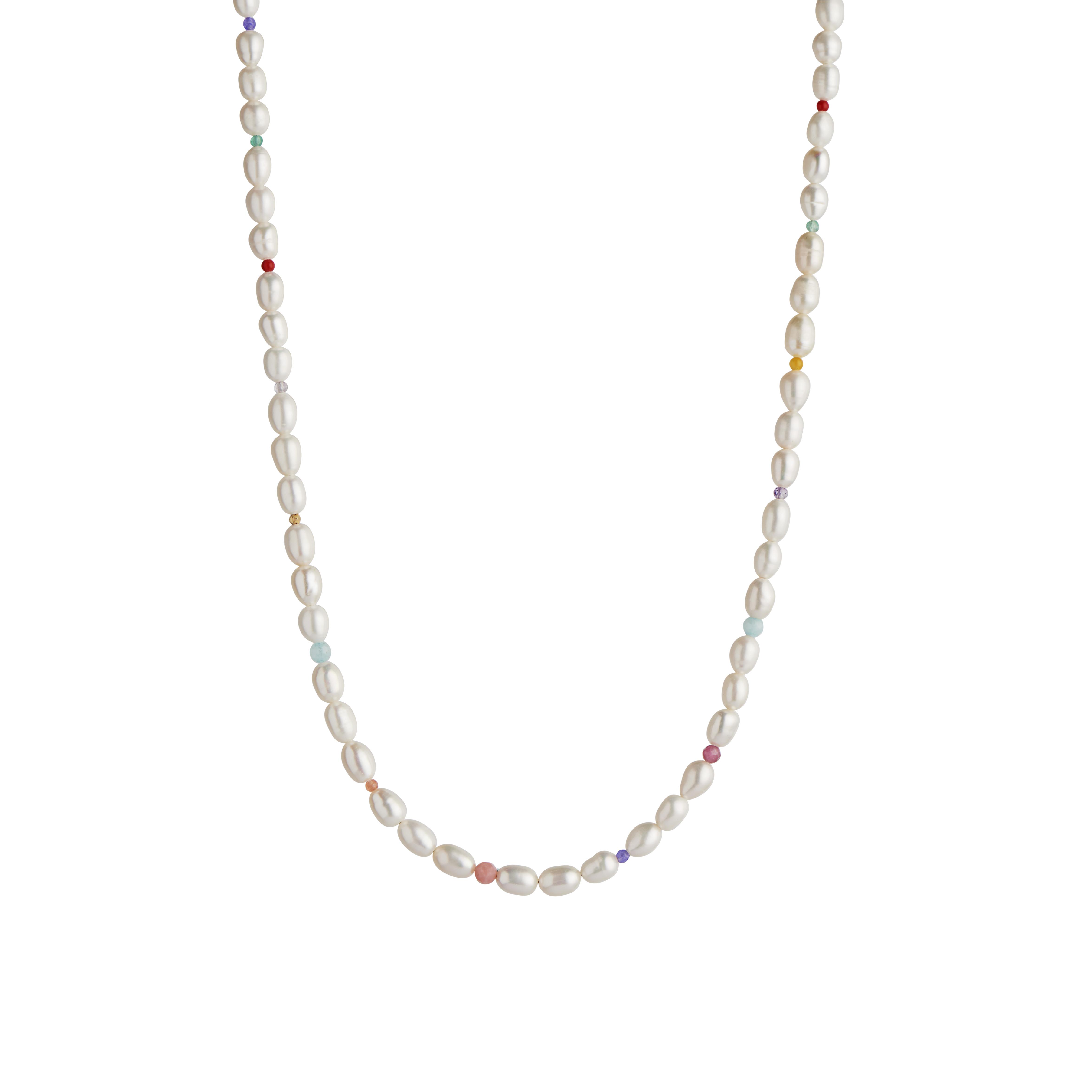 Stine A hvid Pearls and Candy Stones halskæde