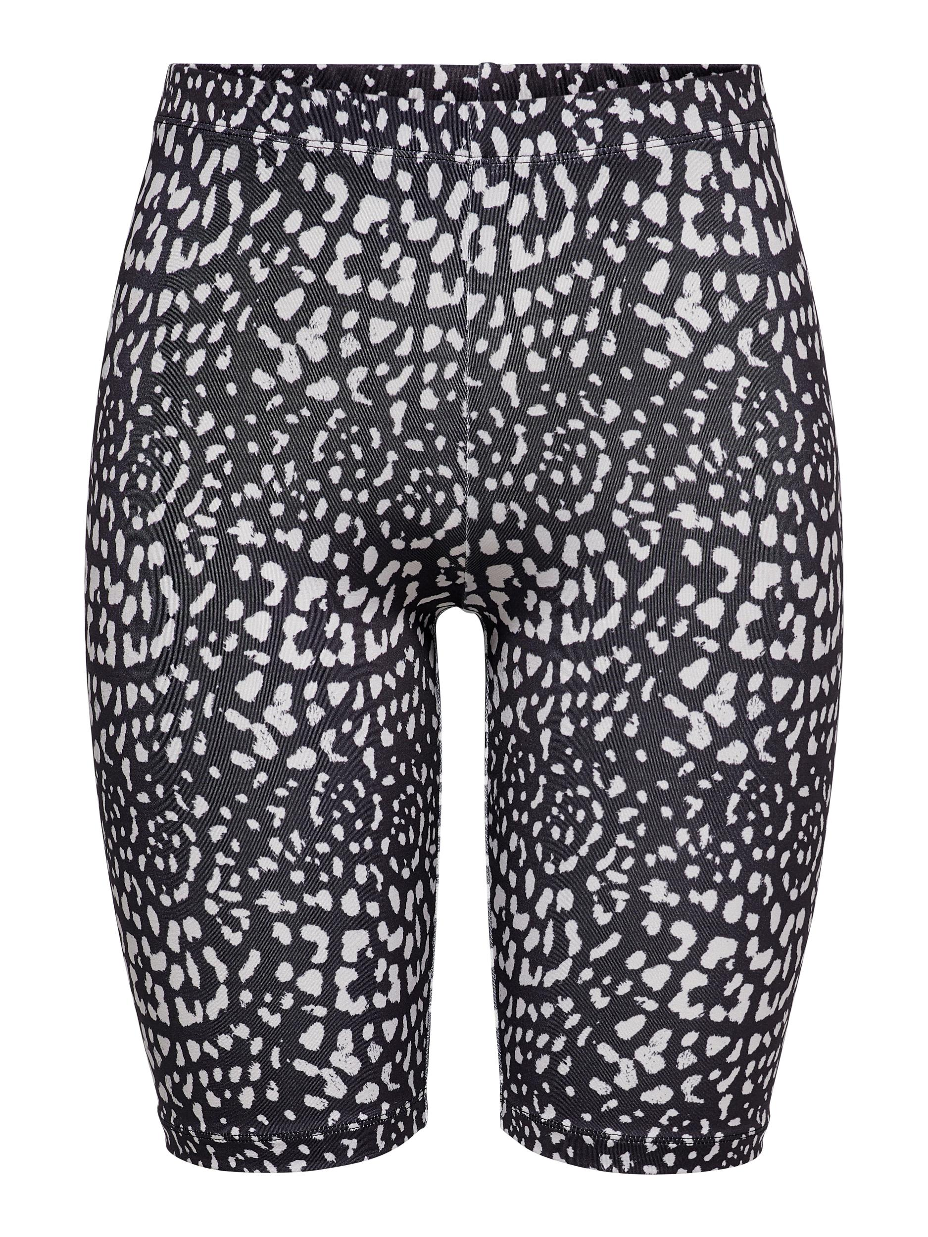Jacqueline de Yong Rossy biker shorts, black/leo, medium