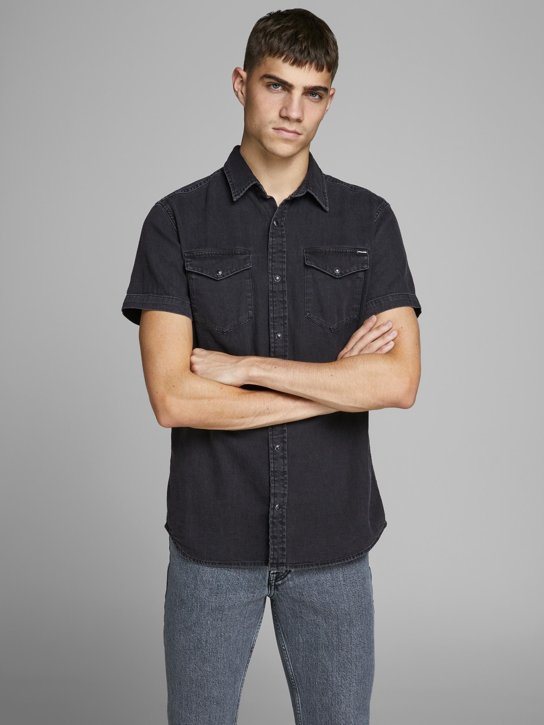 Jack & Jones Heridan skjorte S/S, black denim, large