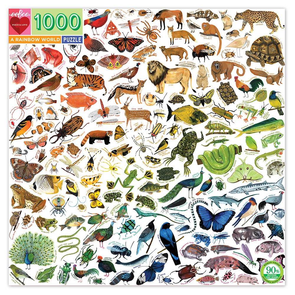 eeBoo puslespil, A Rainbow World, 1000 brikker