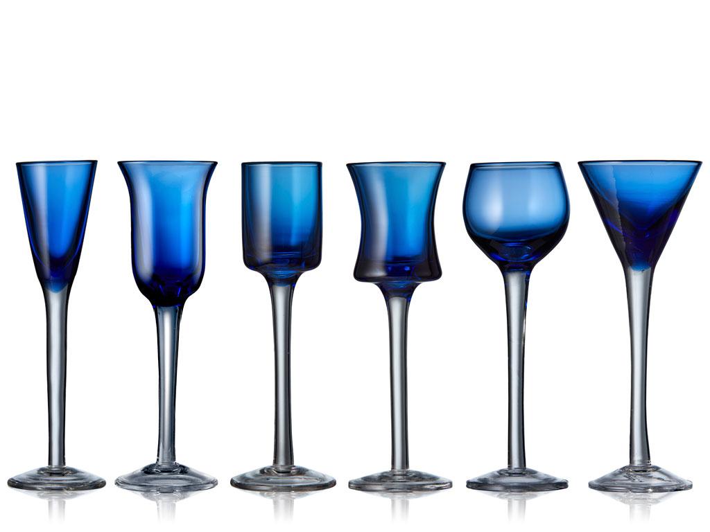 Lyngby-Glas snapseglas, 50 ml, blå, 6 stk
