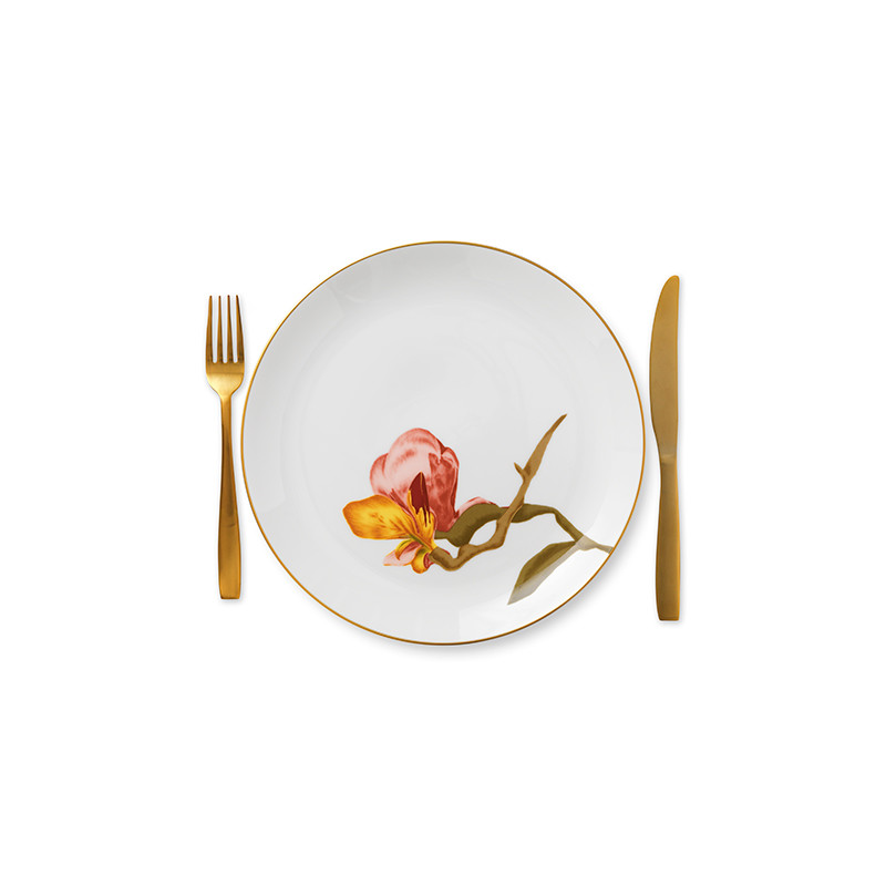 Royal Copenhagen Flora middagstallerken, Ø27 cm, magnolia