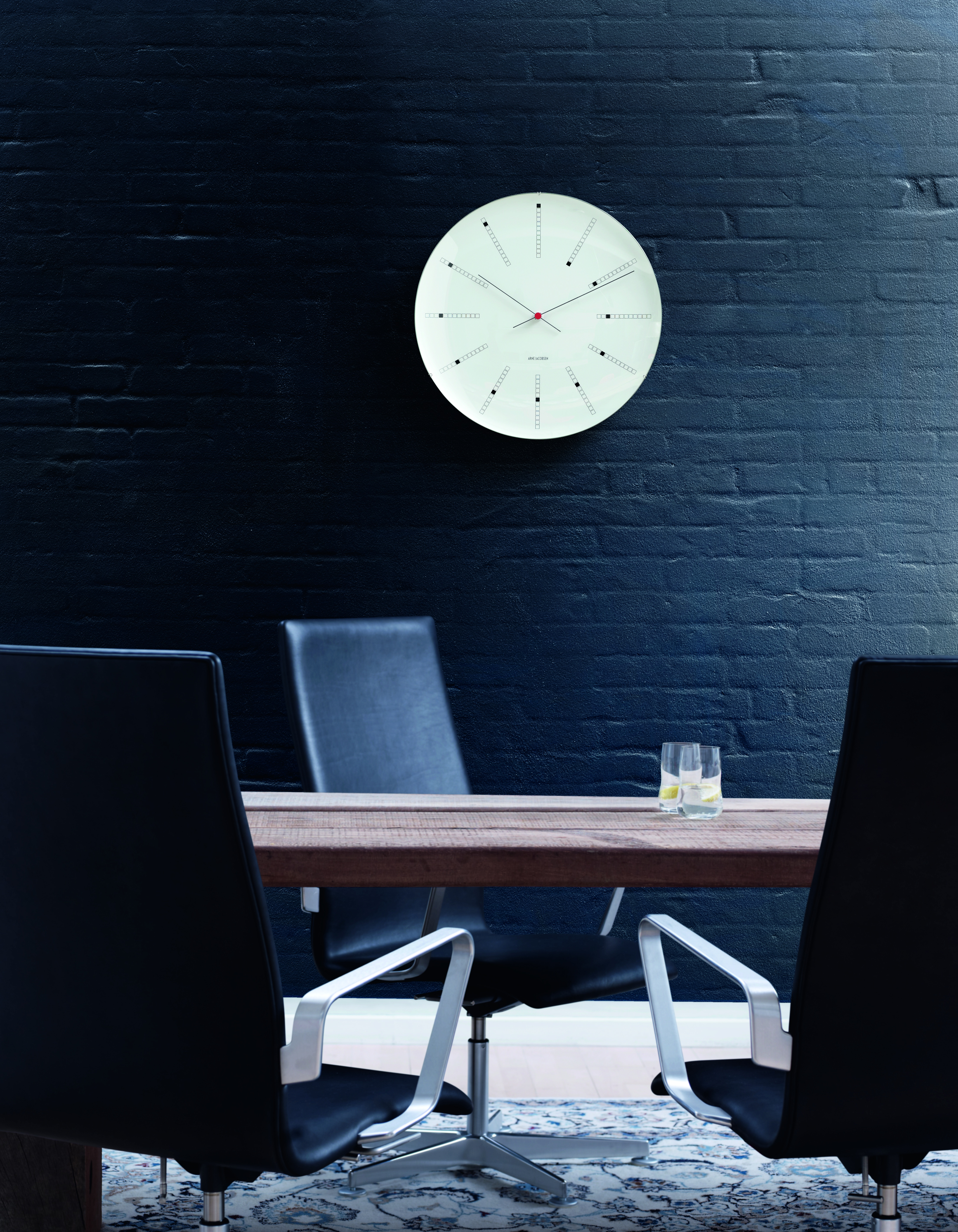 Arne Jacobsen Bankers vægur, Ø16 cm, hvid