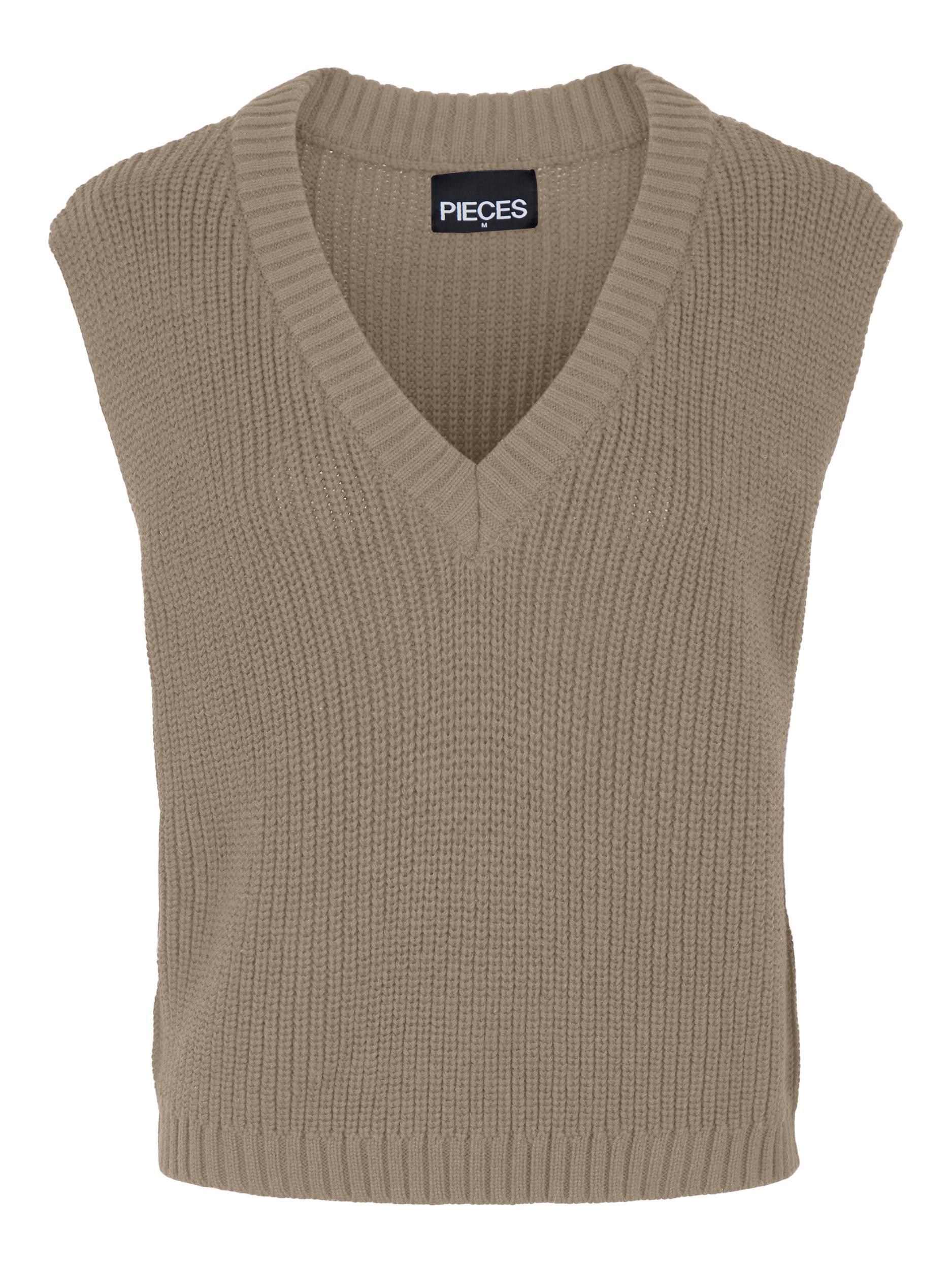 Pieces Carole V-Neck vest, silver mink, medium