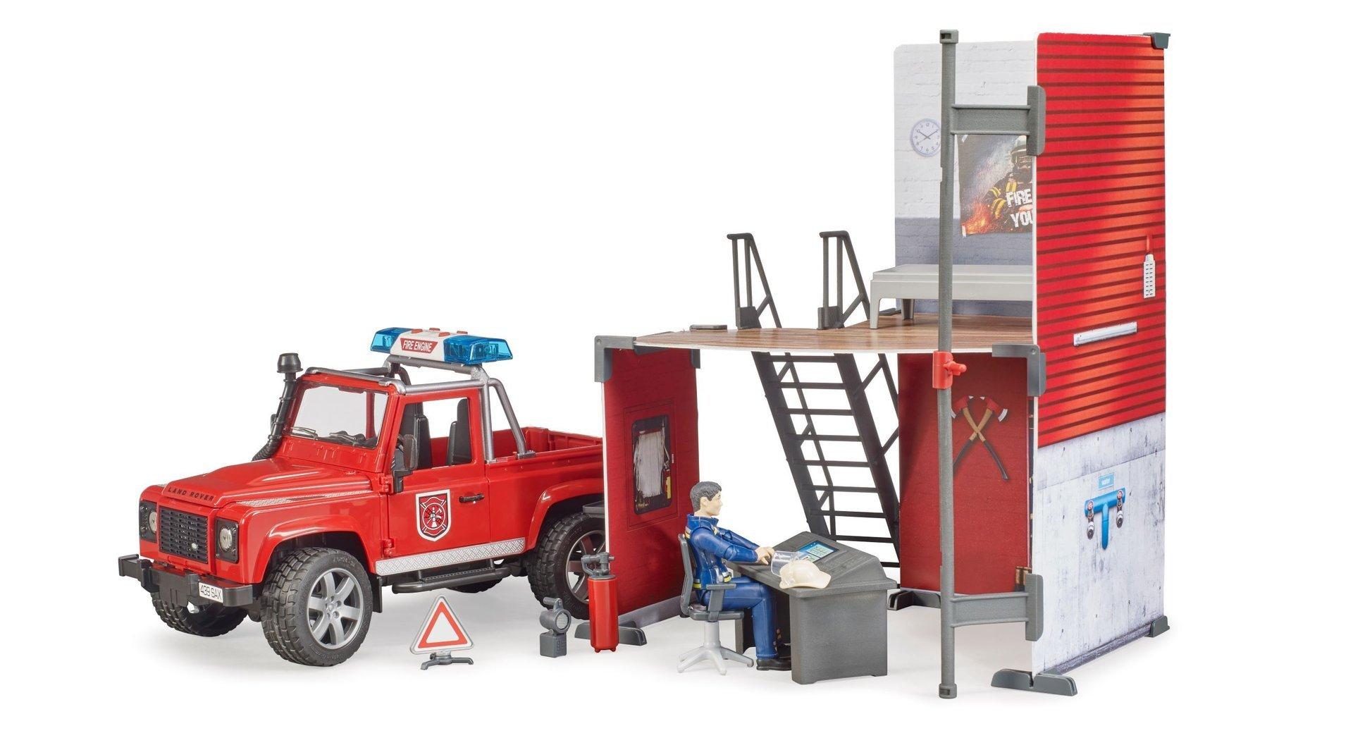 Bruder Brandstation med Land Rover