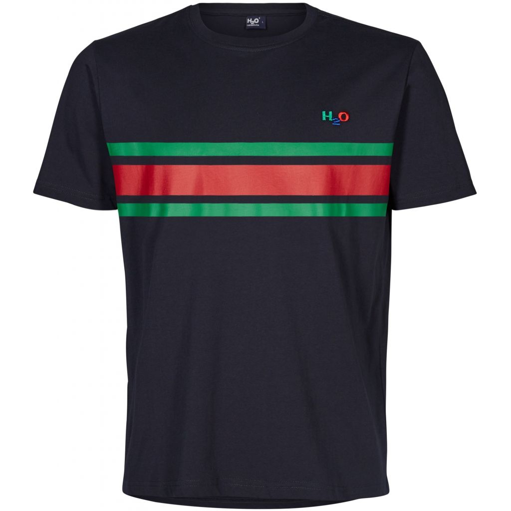 H2O Gilleleje t-shirt, navy/green/red, small