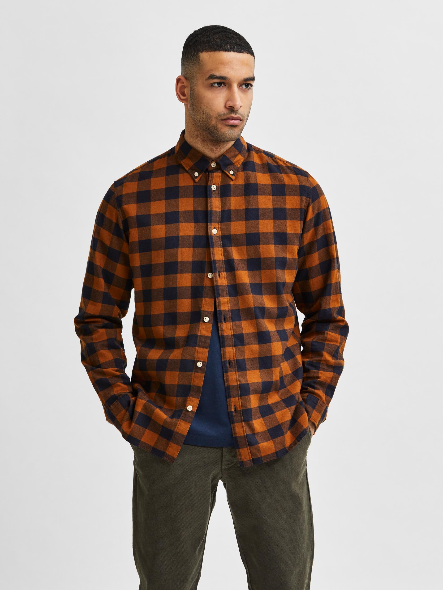 Selected Homme Flannel Slim skjorte, monks robe, x-large