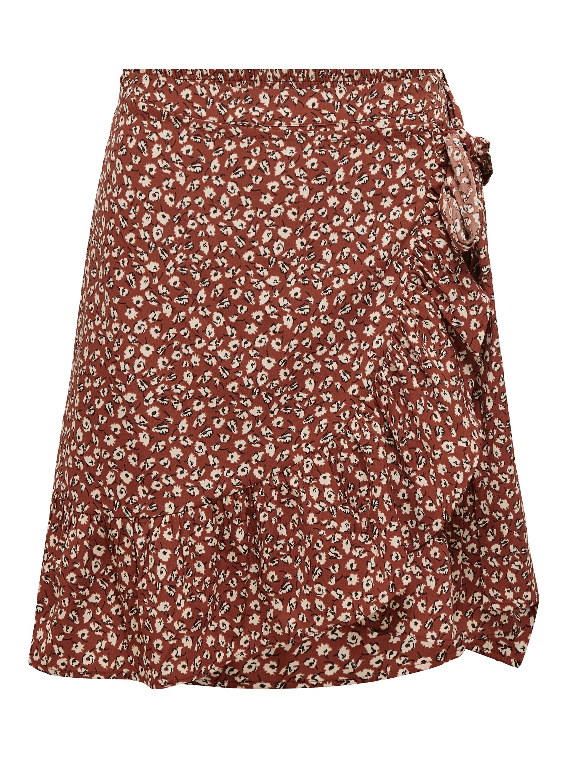 ONLY Olivia Wrap nederdel, henna, x-small