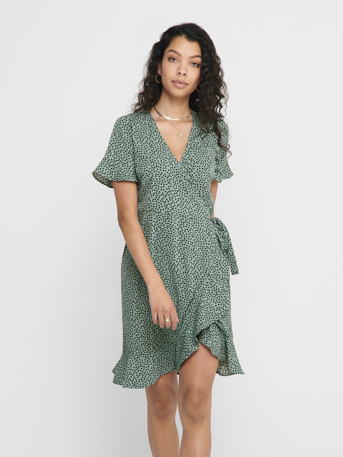 Only Olivia Wrap kjole, chinois green, 36