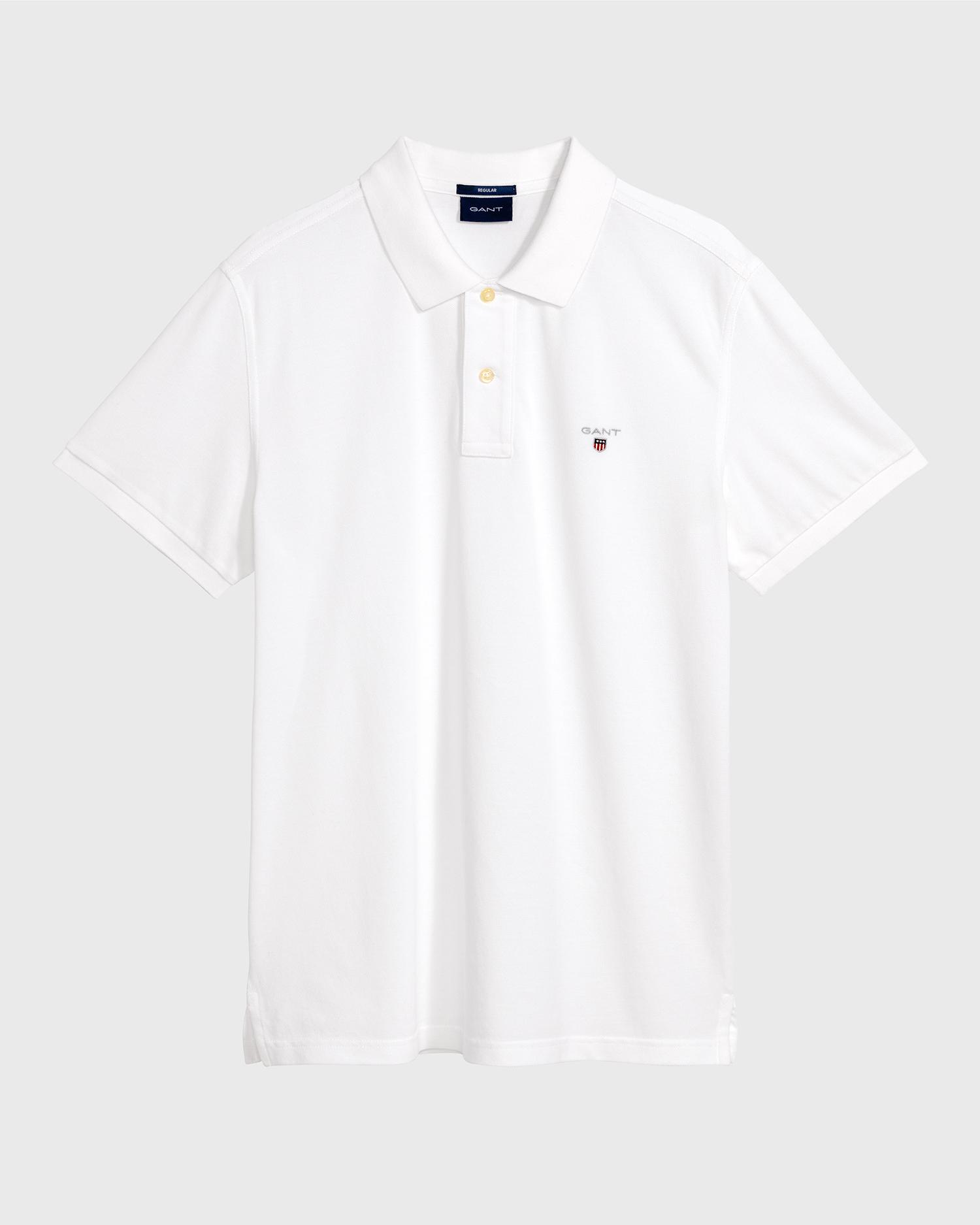 GANT Pique polo, white, medium