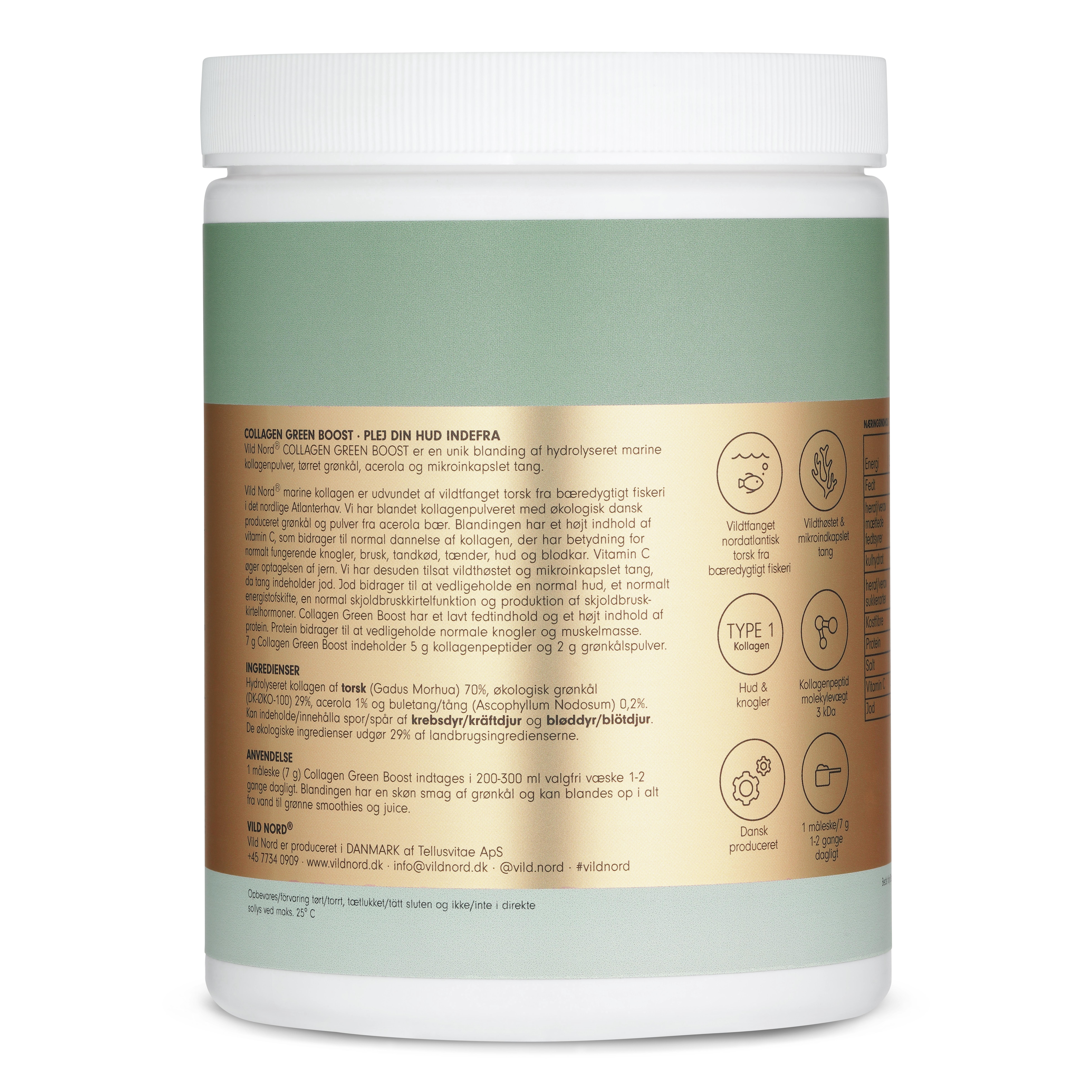 Vild Nord Collagen, Green Boost, 315 g