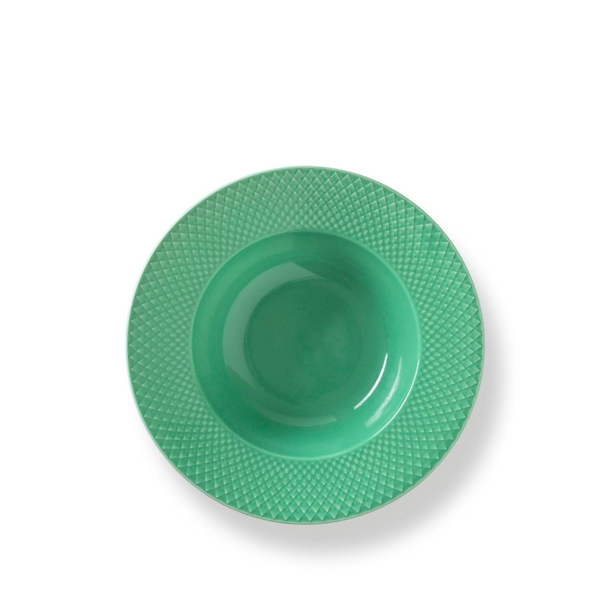 Lyngby Porcelæn Rhombe Color suppetallerken, Ø24,5 cm, grøn