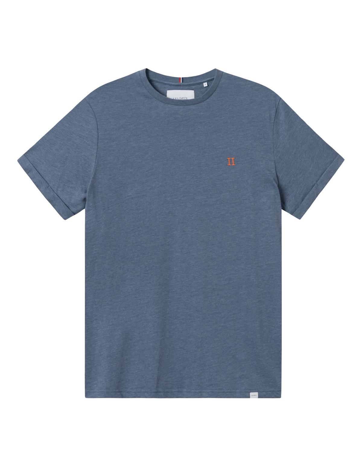Les Deux Nørregaard t-shirt, china blue melange/orange, small