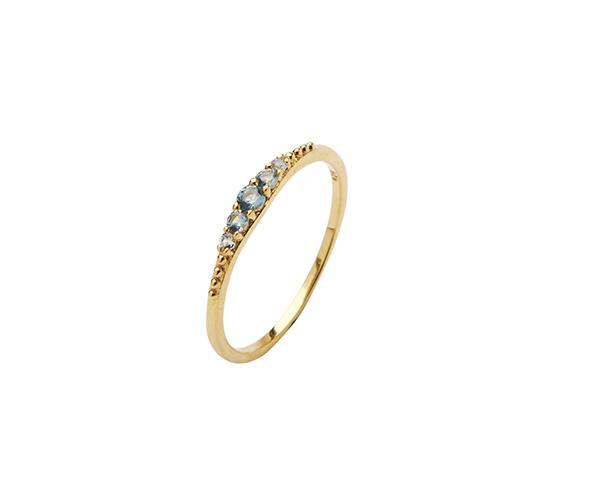 Pico Aisha ring, guld/lys blå, 50