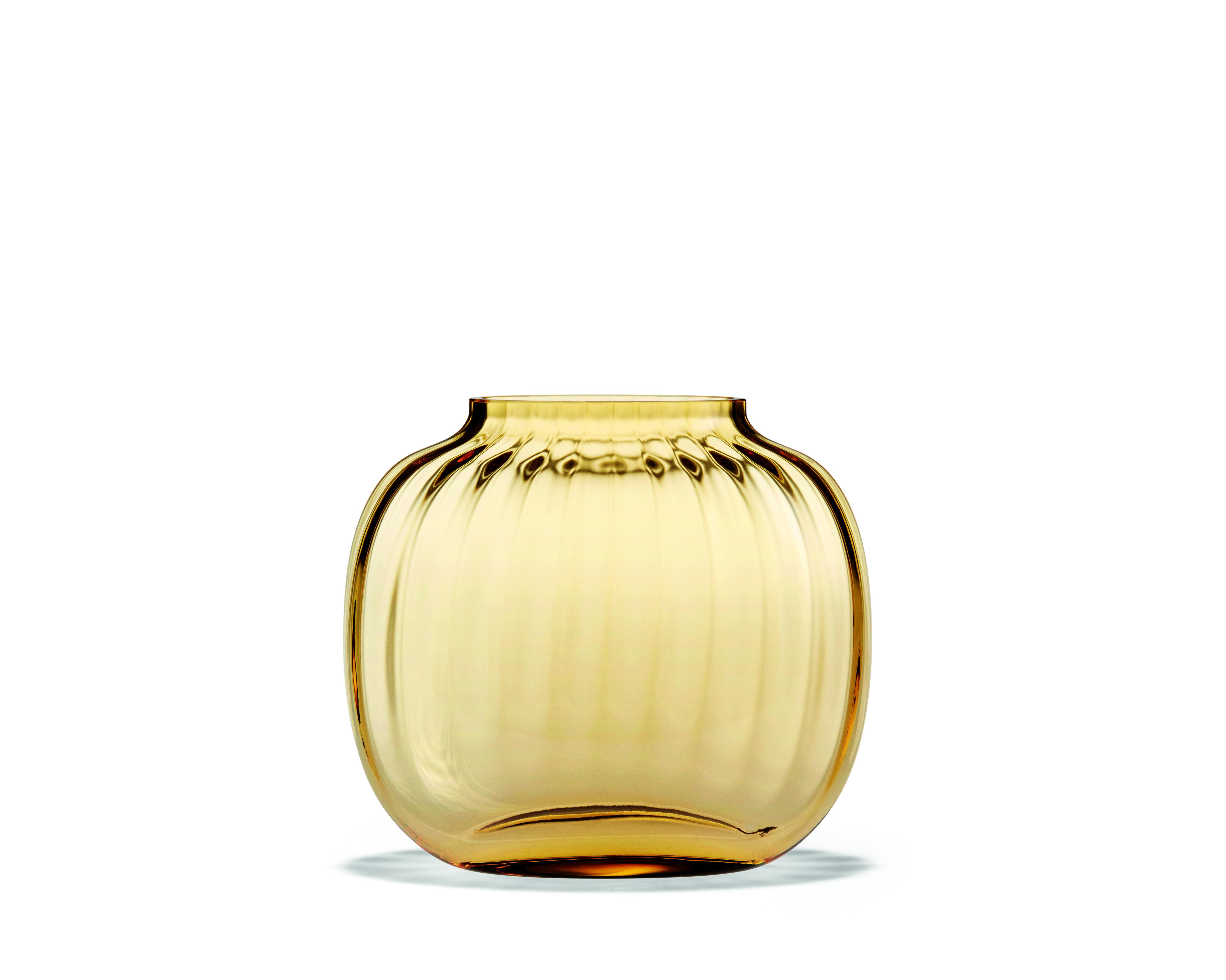 Holmegaard Primula oval vase 12,5 cm, amber