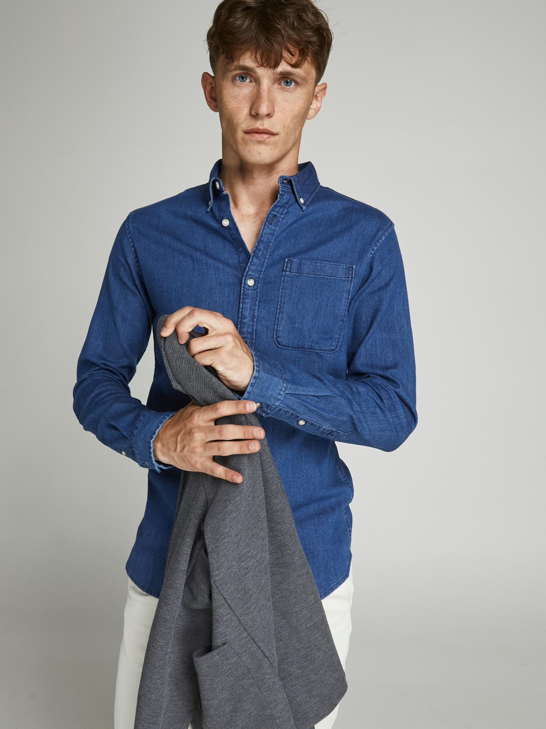 Jack & Jones Perfect Denim skjorte, blue denim, large