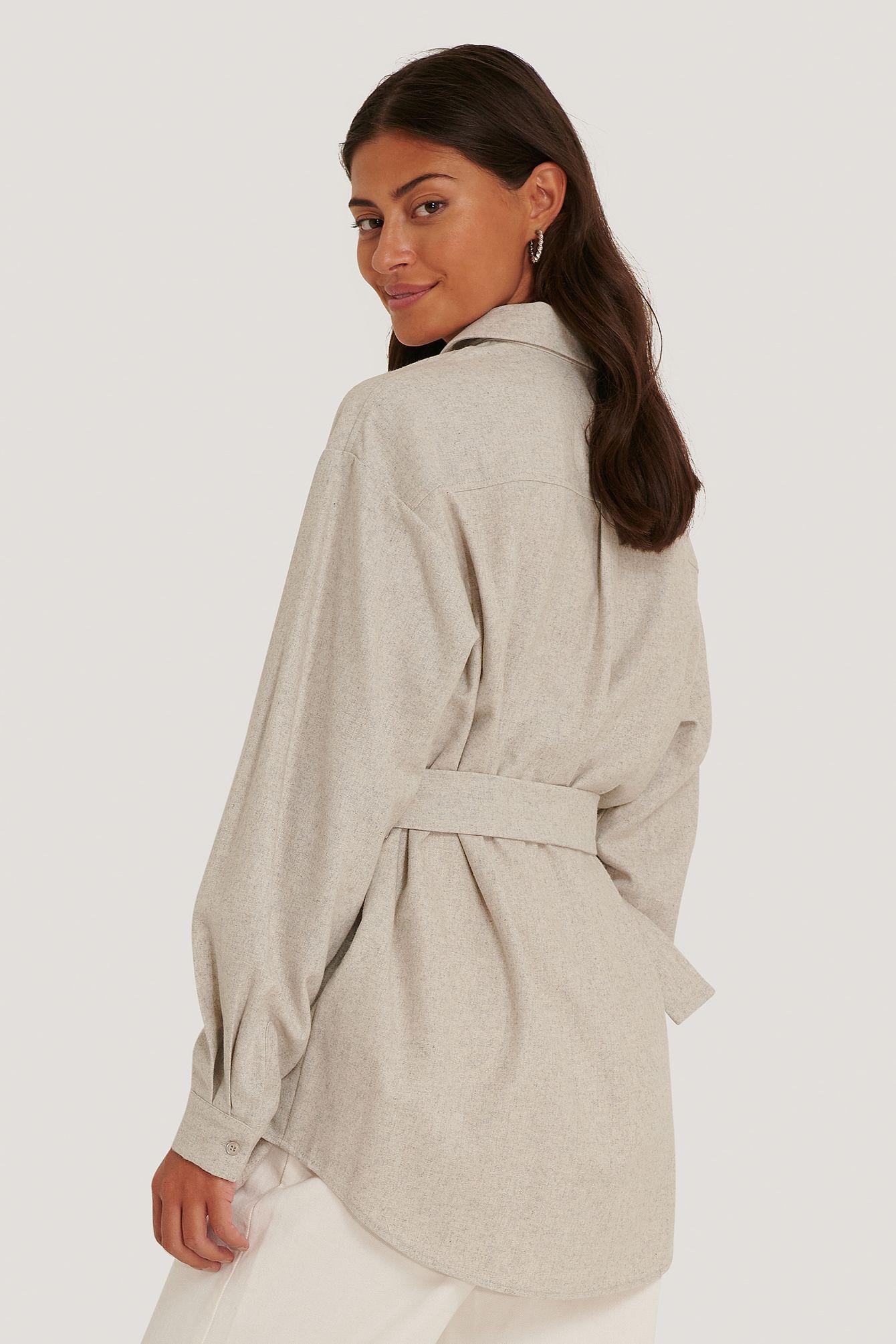 NA-KD oversized shacket, light grey, 34