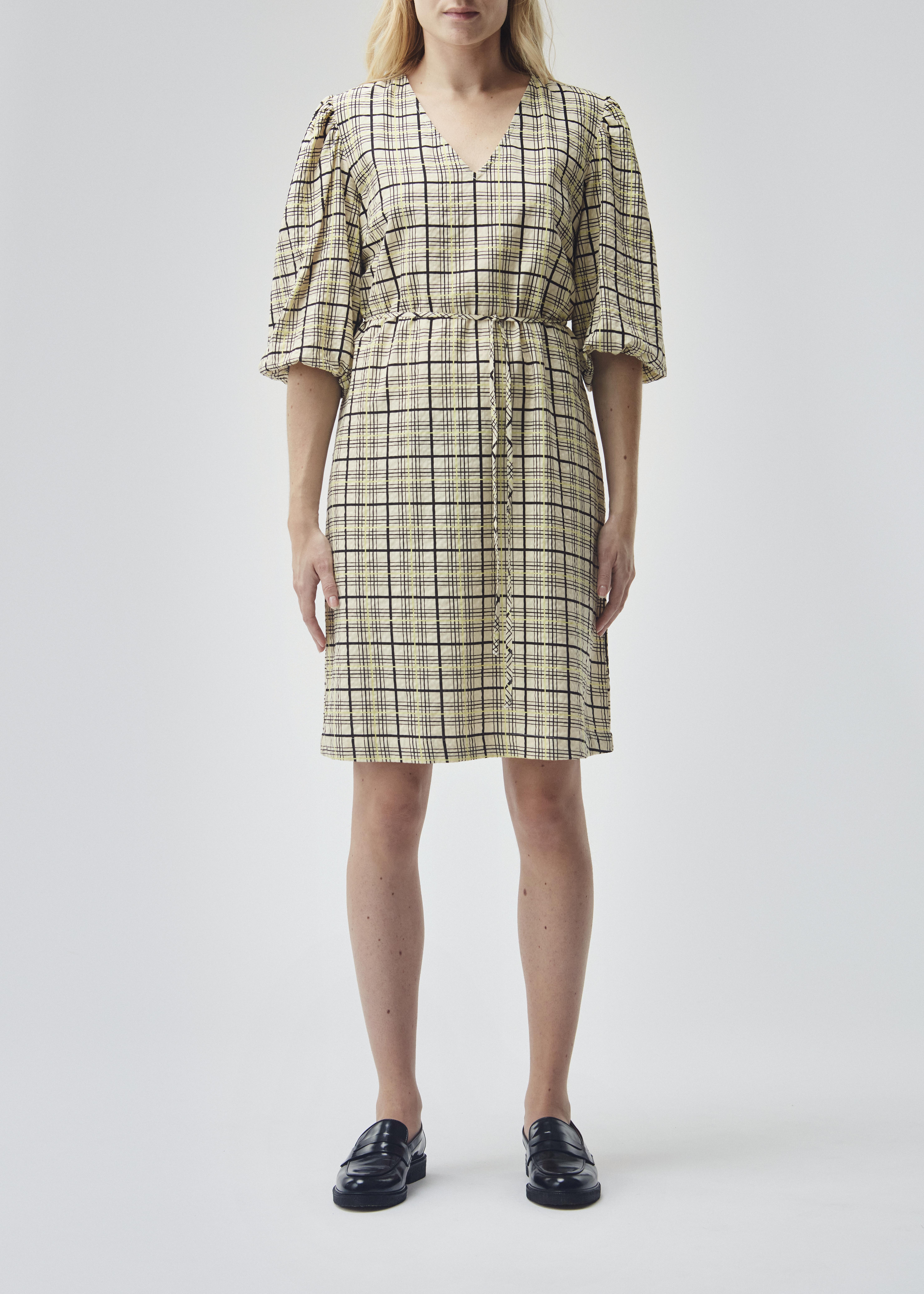 Modström Hollow kjole, celery check, medium