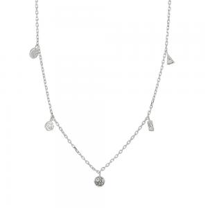 Joanli Nor Gwennor halskæde, rhodineret sølv, 42 cm