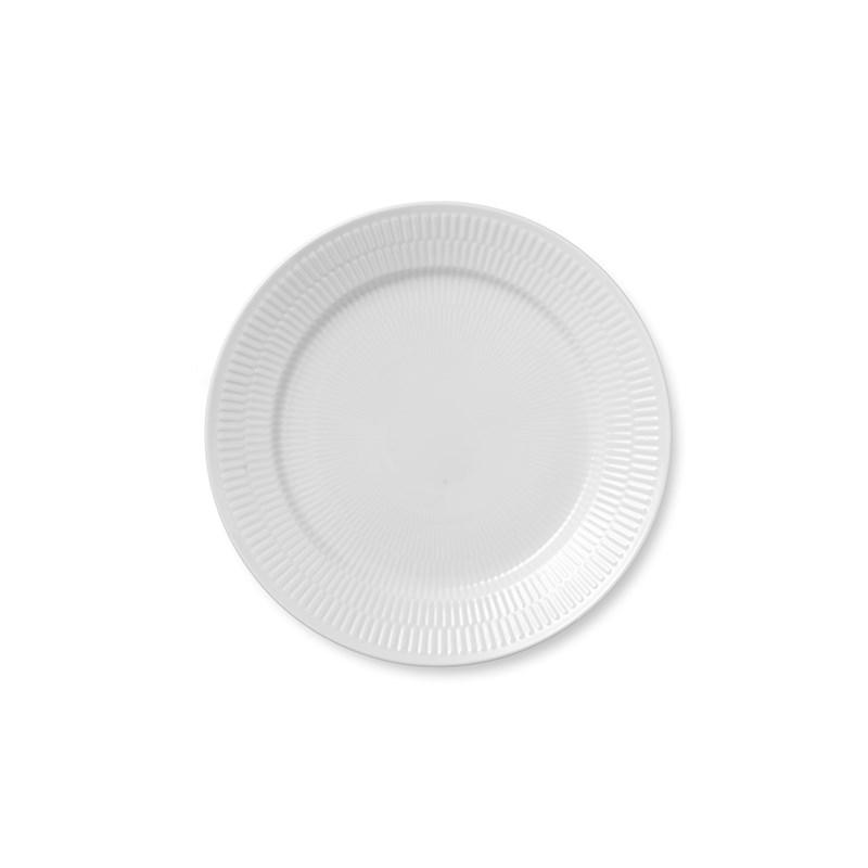 Royal Copenhagen Hvid Riflet middagstallerken, Ø27 cm